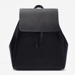 Zara Faux Leather Black Backpack